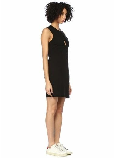 T By Alexander Wang Önü Dekolte Detaylı Kolsuz Mini Elbise Siyah